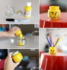 Ideas Diy Baby Food Containers Lego Head For 2019 Easy Diy Crafts, Diy Arts And Crafts, Diy Craft Projects, Diy Crafts For Kids, Crafts With Glass Jars, Mason Jar Crafts, Lego Head, Baby Food Containers, Lego Birthday Party