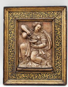 Vintage Jewelry Box Alabaster Bas-Relief Decorative Carved Medieval Period Scene