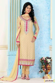 A unique designer and color combination of pink cream color brasso embroidered party wear suit. It is elaborated with great look patch of embroidery on sleeve.   Rs, 1840/-  http://www.pavitraa.in/store/partywear-salwar-suit/ #partywearsalwarsuit, #churidarsalwarsuits, #straightsalwarkameez, #longdress, #embroiderysalwarsuit
