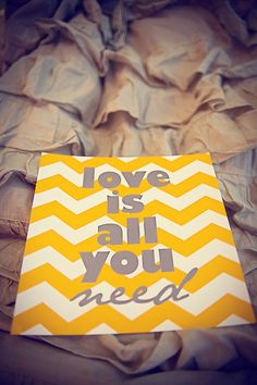 Love Is All You Need Beatles yellow and grey by westeightythird, $12.00