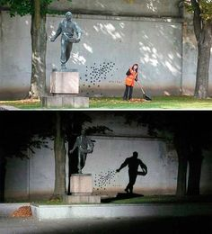 Night and day - a monument in Kauna, Lithuania.