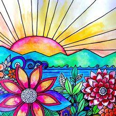 Heres a little sunshine to brighten your. Sun Art, Hippie Art, Arte Pop, Art Journal Pages, Whimsical Art, Art Plastique, Rock Art, Doodle Art, Painted Rocks