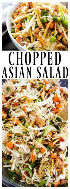 Chopped Asian Salad – A Dash of Sanity CHOPPED ASIAN SALAD. Sub almonds or peanuts for chow mein noodles; use on plan sweetener in dressing Side Dish Recipes, Asian Recipes, Dinner Recipes, Ethnic Recipes, Potluck Recipes, Party Recipes, Casserole Recipes, Cocktail Recipes, Dessert Recipes