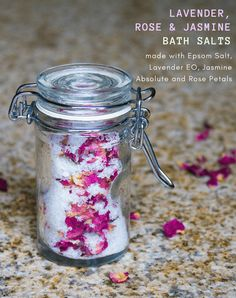 Handcrafted Jasmine, Lavender and Rose Homemade Aromatherapy Bath Salts to soothe muscles and relax the mind while indulging in a luxuriously fragrant bath!