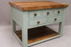 RECLAIMED PINE KITCHEN UNIT KITCHEN ISLAND FARROW & BALL PAINTED BASE HARVINGTON | eBay