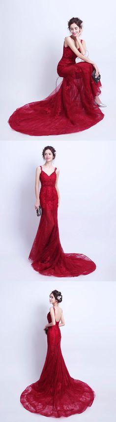 Burgundy mermaid tulle long prom dress, lace evening dress