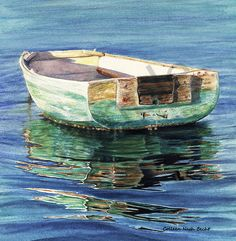 """Buy this incredible Artisit""""s Giclee of Sentimental Journey Row Boat. Amazing ability to capture the colors of the sea. SKU-ID: Pictures To Paint, Art Pictures, Water Paint Art, Boats And Birds, Lake Painting, Boat Art, Old Boats, Dream Art, Fashion Painting"""