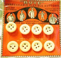 ButtonArtMuseum.com - Boye Rubber Buttons Orig Card 1930'S Cute Graphics