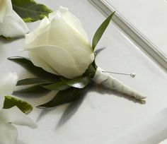 White Rose and White Tulip Boutonniere for the Groom (White Rose part)
