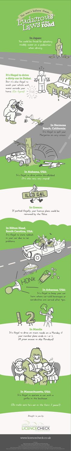 You Won't Believe These Ludicrous Laws of the Road #infographic #Laws #Driving…