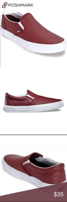 Vans Classic Slip Ons Burgundy Perforated Leather The Perf Leather Classic Slip-On features a low profile slip-on perforated leather upper, padded collar and heel counter, elastic side accents, and signature waffle outsoles.works great for women to Vans Shoes Sneakers