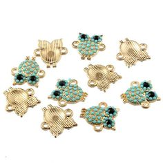 30 pcs Owls Gold and Turquoise Enamel Connector Bead Charms http://www.mobile-boutique.com/products/30-pcs-owls-gold-and-turquoise-enamel-connector-bead-charms?utm_campaign=crowdfire&utm_content=crowdfire&utm_medium=social&utm_source=pinterest