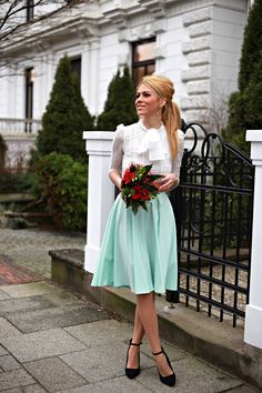 Modest Mint Green High Waist Skirt