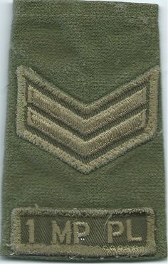 Corporal 1 MP Pl Military Police Platoon Canada) Olive Rank Slide NCO or Officer Cadet rank badge for sale Military Police, Army, Royal Marines, Royal Air Force, Badges, Canada, History, Shoulder, Gi Joe