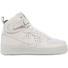 Nike Women Nikelab Air Force 1 High Top Sneakers ($280) ❤ liked on Polyvore featuring shoes, sneakers, ivory, high top shoes, lightweight shoes, velcro high tops, high-top sneakers and ivory shoes