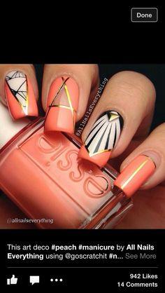 Orange, gold, black and white nail art, nail designs 2014