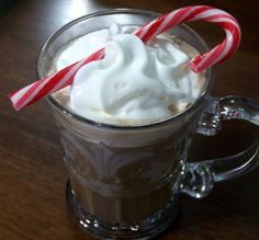 Hot Chocolate With Peppermint Schnapps - We used to sit around sipping these in the sorority house...only we used instant cocoa mix.  Can't wait to try this version!