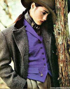 "Ralph Lauren-Fall 1985. Unisex clothes were very popular during this time period. Women were accepted wearing ""Pant-suit"" styled garments."