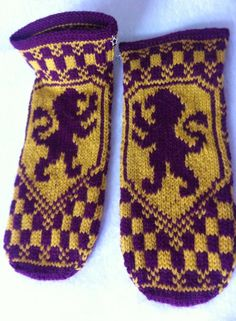 Harry Potter Knitted slippers after this pattern:  https://quietish.wordpress.com/2010/10/09/hp-house-fair-isle-pouch-bags/