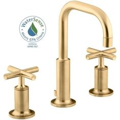 KOHLER Purist 8 in. Widespread 2-Handle Mid-Arc Bathroom Faucet in Vibrant Modern Brushed Gold - K-14406-3-BGD - The Home Depot