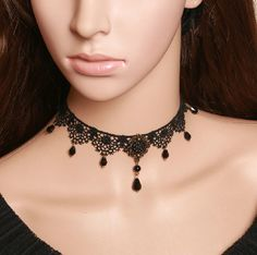 Delicate Rose Lace Choker Necklace, Victorian inspired Choker
