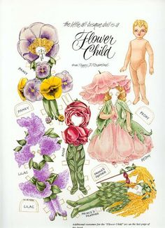 Flower Child* Christmas paper dolls The International Paper Doll Society Arielle Gabriel artist #QuanYin5 Twitter, Linked In QuanYin5 *