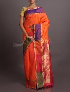 Shravani Rainbow Border Brocade Pallu #WeddingSilkSaree