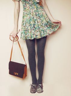 Floral dress, ribbed tights, bag, shoes.