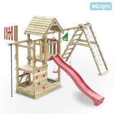 Enchant your children with a Wickey climbing frame for happy outdoor moments ☀ Slide ✓ Swing ✓ Sandpit ✓ warranty Backyard Slide, Kids Backyard Playground, Backyard Swing Sets, Backyard For Kids, Kids Climbing Frame, Wooden Climbing Frame, Backyard Playhouse, Build A Playhouse