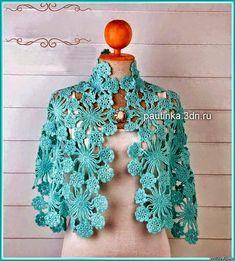 Crochet y dos agujas: Capa corta al crochet con motivo floral - con diagramas y patrones