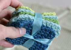 Crochet baby scrubbies. Love this idea. So many of my friends are having babies and this would be a perfect addition to a gift basket.