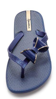 darling bow-tie blue flip-flops