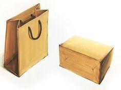 종이가방 기초디자인 개체묘사(개체표현,색채정밀) 시범작