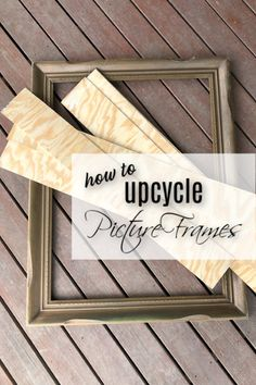 Learn how to upcycle picture frames to create your own unique DIY home decor. I added plywood to this old frame and it turned out so well! The post How To Upcycle Picture Frames With Shiplap appeared first on Suggestions. Unique Picture Frames, Picture Frame Decor, Picture On Wood, Painted Picture Frames, Diy Upcycled Picture Frame, Decorating With Picture Frames, Crafts With Picture Frames, Picture Frame Projects, Rustic Frames