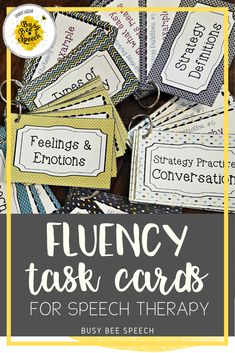 The perfect stuttering materials for speech therapy on the go are these task cards.  They include 116 cards that address several aspects of therapy including: strategy practice, relaxation, definitions, feelings and emotions, and speech machine.
