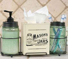 Mason jar bathroom caddy. Available at shabby shed primitives.