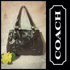 Coach Mia Patent Leather Carryall Bag Handbag Purse 15768 Graphite Grey  Brown 4253c234aa330