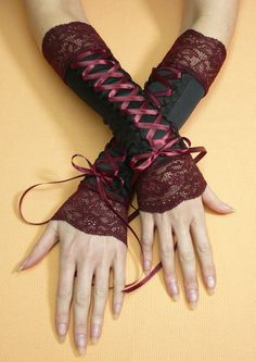 Black and Burgundy Corset Armwarmers, Gothic Costume Gloves with Red Wine Lace and Satin Gauntlets, Vampire, Baroque Style