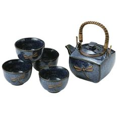 Japanese Dragonfly Tea Pot and Tea Cups Set in Blue