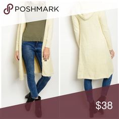 Arriving soon! Warm & chic! Fuzzy sweater cardigan Soft fuzzy material in stunning winter white - long open cardigan with hoodie!!  Sweaters Cardigans