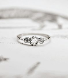 Platinum+Rose-Cut+Diamond+'Trilogy'+engagement+Ring+via+@WhoWhatWear