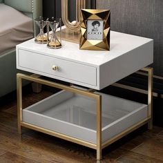 Modern Nightstand Side Table - End Table with 2 Drawers, White & Gold White And Gold Nightstand, White Gold Bedroom, Gold Bedroom Decor, White And Gold Decor, Bedroom Modern, Bedroom Ideas, Side Table Decor, Table Decor Living Room, Side Table Styling