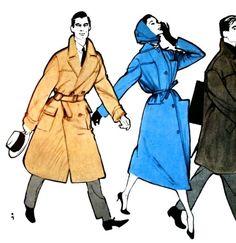 Blizzand coat fashions for Jardin des Modes September 1957. Illustration by Rene Gruau.