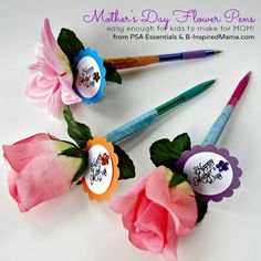 Make a Flower Pen Craft for Mothers Day for PSA Essentials from B-InspiredMama.com