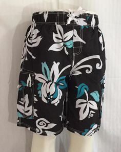 Kanu Surf Mens Swim Trunks Board Shorts Sz Large Tropical Black Blue White NWT #KanuSurf #BoardShorts