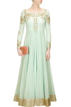 Powder blue embroidered floor length jacket available only at Pernia's Pop-Up Shop.