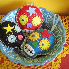 felt sugar skull ornaments