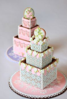 Cookie Wedding Cake in the Needlepoint Style by Julia M. Usher. www.juliausher.com