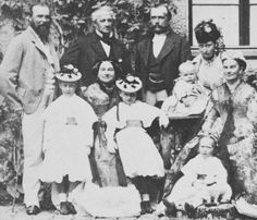 """Prince Louis of Hesse and by Rhine, his wife Princess Alice, children: Princesses Victoria, Elisabeth and Irene and Prince Ernest Louis, visiting Prince Louis' family, 1860s. """""""