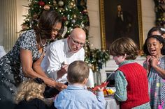 First Lady Michelle Obama does Christmas Crafts with Military Kids